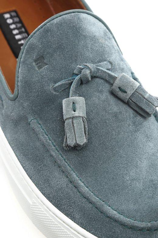 Fratelli rossetti fringed blue loafers vakko for Rossetti vernici e idee