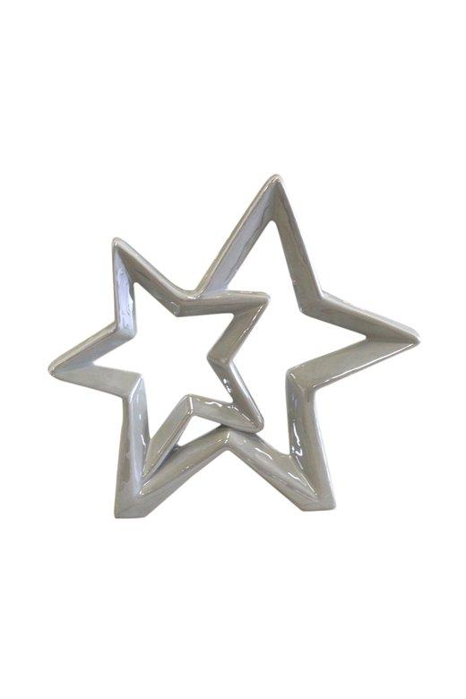 Porselen 2 Bitişik Gri Yıldız Obje 868188220743
