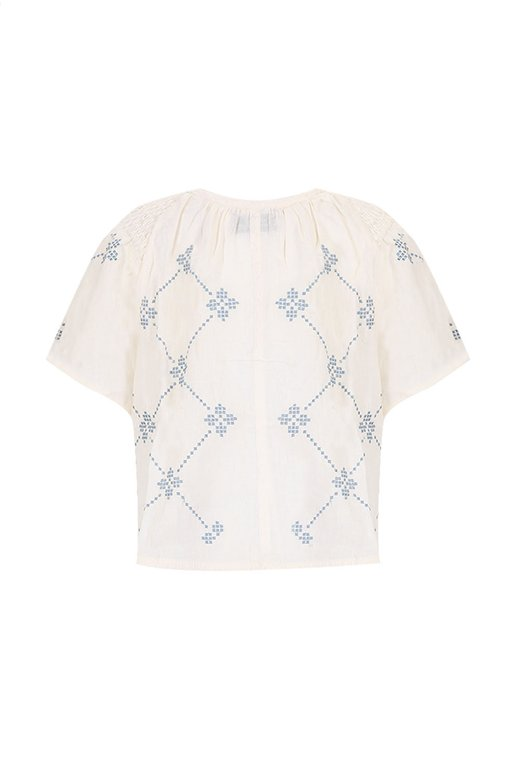 EMBROIDERED LATTICE SMOCK TOP BLUZ 868188285906