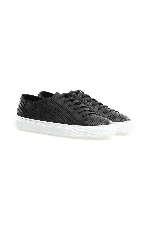 Fratelli rossetti black perforated leather sneakers vakko for Rossetti vernici e idee